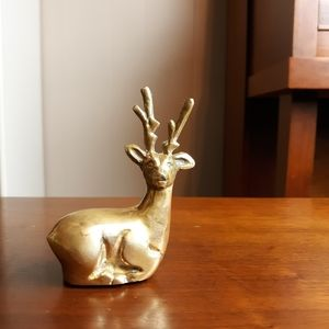 Vintage brass deer accent decor
